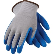 G-Tek CL Seamless Knit Work Gloves, Cotton/Polyester With Latex Coating, Large, Gray & Blue, 12 Pairs