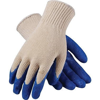PIP Seamless Knit Work Gloves, Cotton/Polyester Latex Coating, L, White & Blue, Dozen