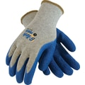 G-Tek Force Seamless Knit Work Gloves, Cotton/Polyester With Latex Coating, Gray & Blue, 12 Pairs
