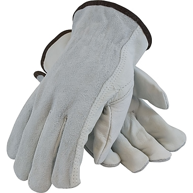 PIP Driver's Gloves, Top Grain Cowhide, Medium, Gray & White, 1 Pair