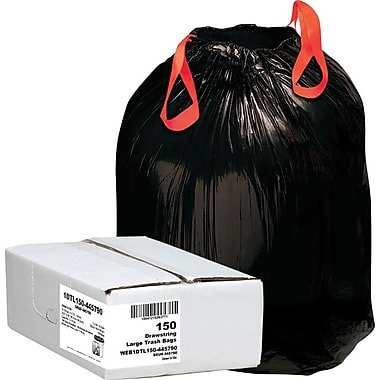 Webster 1DT150 Black Draw'n Tie® Drawstring Trash Bags, 33 gal.