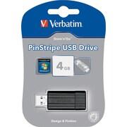 PinStripe USB Drive, 2.0, 4GB, Black
