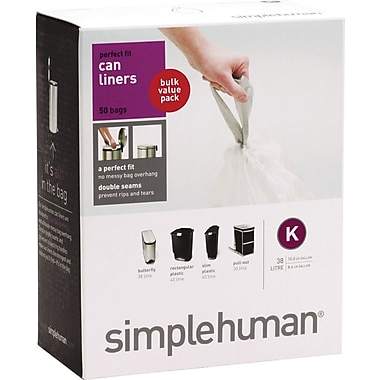 simplehuman Custom Fit Trash Bags, Code K, 9-12 gal., 50/Box