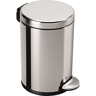simplehuman Mini Round Fingerprint-proof Step Trash Can, Polished Stainless Steel, 1.2 gal.
