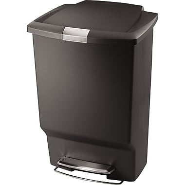 simplehuman Plastic Rectangular Step Trash Can, Grey, 12 gal.