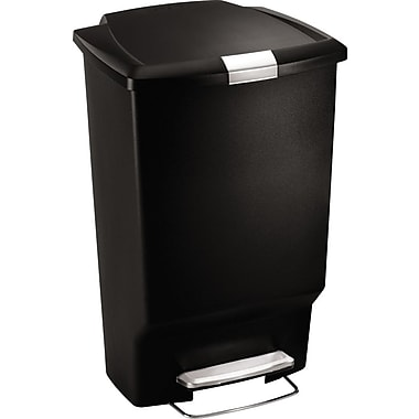 simplehuman Plastic Rectangular Step Trash Can, Black, Plastic, 12 gal.