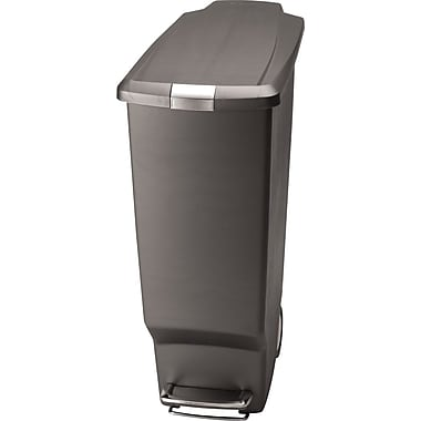 simplehuman Slim Step Trash Can, Grey Plastic, 10.5 gal.