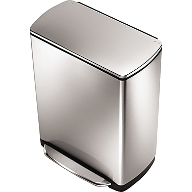 simplehuman Widestep Rectangular Step Trash Can, Brushed Stainless Steel, 13 gal.