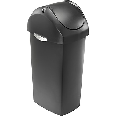 simplehuman Swing Lid Trash Can, Grey Plastic, 16 gal.