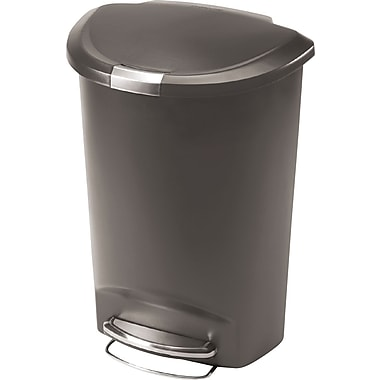 simplehuman Semi-Round Step Trash Can, 13 gal., Grey