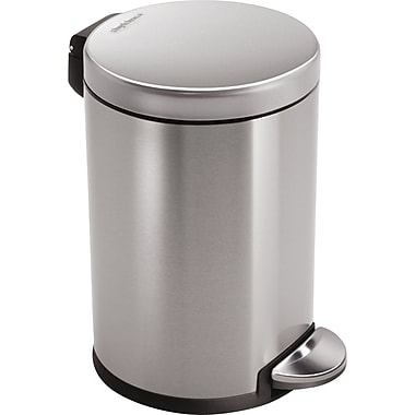 simplehuman Mini Round Fingerprint-proof Step Trash Can, Brushed Stainless Steel, 1.2 gal.