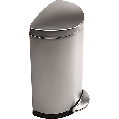simplehuman Semi-Round Step Trash Can, Brushed, 10 gal.