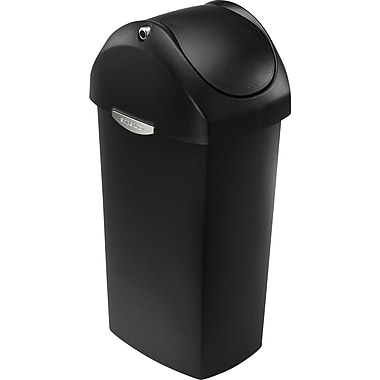 simplehuman Swing Lid Trash Can, Black Plastic, 16 gal.