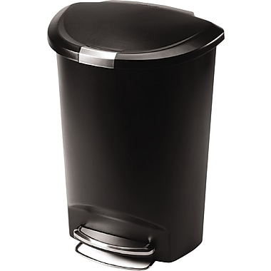 simplehuman Semi-Round Step Trash Can, 13 gal., Black