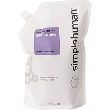 simplehuman Moisturizing, Liquid Hand Soap Refill Pouch, Lavender/Vitamin E, 6/Case