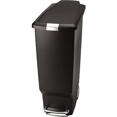 simplehuman Slim Step Trash Can, Black Plastic, 10.5 gal.