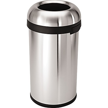 simplehuman Bullet Open Trash Can, Brushed, 16 gal.