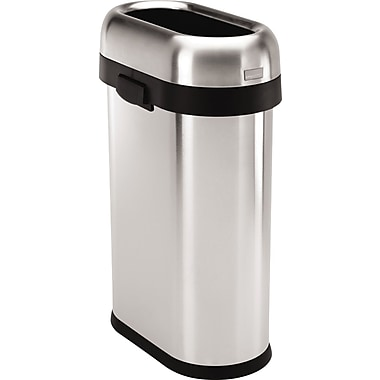 simplehuman Slim Open Trash Can, Brushed, 13 gal.