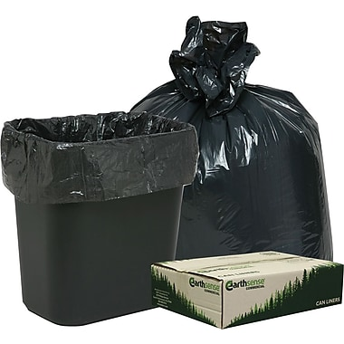 Webster Earthsense Commercial Recycled Trash Bags, Black, 7-10 gal.