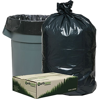 Webster Earthsense Commercial Recycled Trash Bags, Black, 55-60 Gallon, 100 Bags/Box