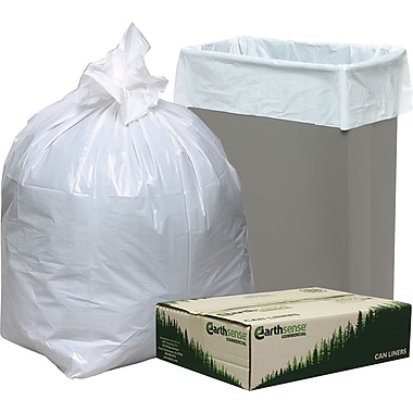 Webster Earthsense Commercial Recycled Trash Bags, White, 13 gal.