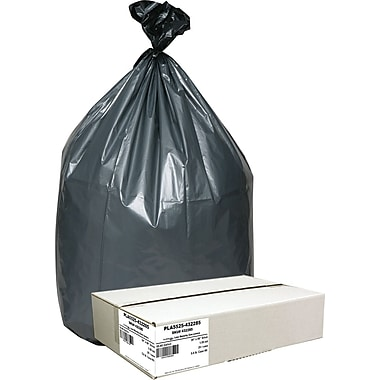 Webster Industries® Platinum Plus® Low Density Can Liners, 55-60 Gallon, 1.55 mil., Black/Silver, 39