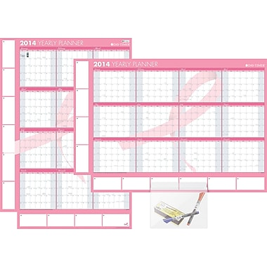 2014 Pink Ribbon Erasable Wall Planner, 26 3/4in. x 38 3/4in.