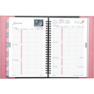 2014 Day-Timer® Pink Ribbon Reversible Weekly/Monthly Appointment Book, 5 1/2in. x 8 1/2in.