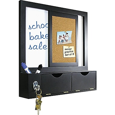 Master Vision 16in.(H) x 16in.(W) x 3 1/8in.(D) Combo Dry Erase and Cork Station W/Storage, Black Frame