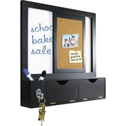 """Master Vision 16""""(H) x 16""""(W) x 3 1/8""""(D) Combo Dry Erase and Cork Station W/Storage, Black Frame"""
