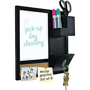 Master Vision 16in.(H) x 16in.(W) x 3in.(D) Combo Dry Erase and Cork Station W/Storage, Black Frame