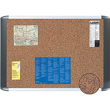 MasterVision  48in.(W) x 36in.(H) Tech Cork Board, Silver/Black Frame