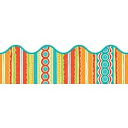 "Carson-Dellosa Publishing 108138 3' x 2.25"" Scalloped Stripes Tropical Twist Border, Multicolor"
