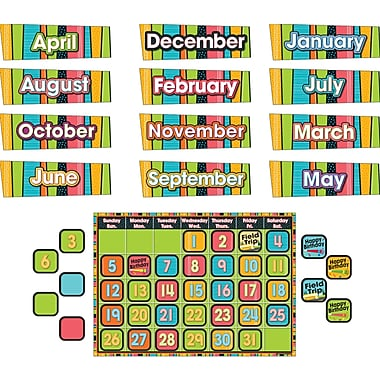 Carson-Dellosa Stylin' Stripes Calendar Bulletin Board Set
