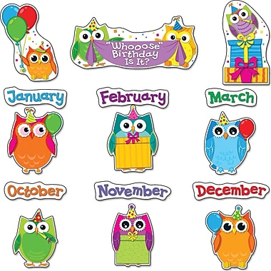 Carson-Dellosa Colorful Owls Birthday Bulletin Board Set