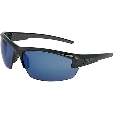 Uvex Mercury Safety Glasses, Blue Mirror Hardcoat, Black & Gray Frame