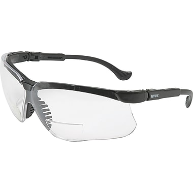 Uvex Genesis Reading Magnifier Glasses, +2.0, Black Frame, Clear Ultra-Dura Hardcoat Lens