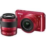 Nikon 1 S1 Digital Camera with 11-27.5mm f/3.5-5.6 NIKKOR Lens and 30-110 VR NIKKOR Lens, Red