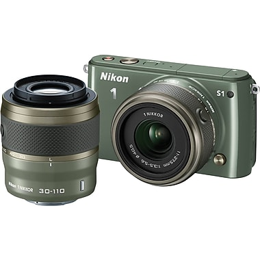 Nikon 1 S1 Digital Camera with 11-27.5mm f/3.5-5.6 NIKKOR Lens and 30-110 VR NIKKOR Lens, Khaki