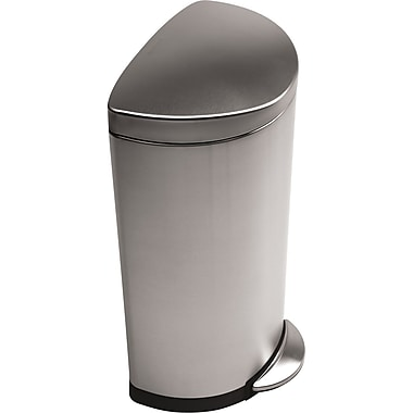 simplehuman Semi-Round Step Trash Can, Brushed, 8 gal.