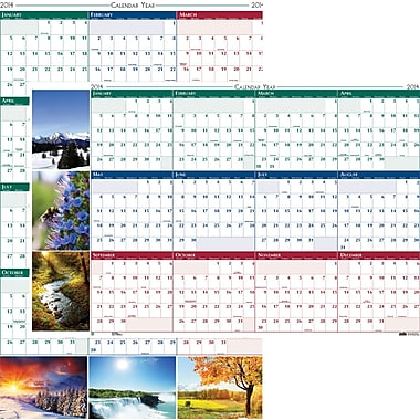 2014 House of Doolittle® Earthscapes™ Laminated Wall Planner, 24in. x 37in.