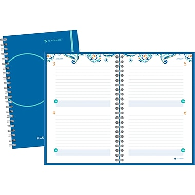 2014 AT-A-GLANCE® Paisley Exclusive Desk Two Days Per Page Planning Notebook, 6in. x 9in.
