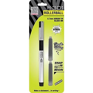 Zebra R-301 Refillable Stainless Steel Rollerball Pen, Medium, Black