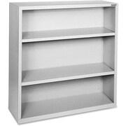 "Hirsh Steel Bookcase, Light Gray, 3-Shelf, 42""H"