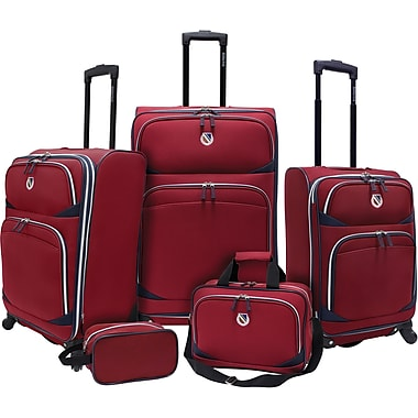 Beverly Hills Country Club BH2200 San Vincente 5-Piece Spinner Luggage Set, Red