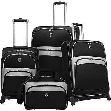 Beverly Hills Country Club BH2700 Wilshire 4-Piece Expandable Spinner Luggage Set, Black