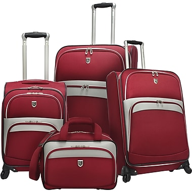 Beverly Hills Country Club BH2700 Wilshire 4-Piece Expandable Spinner Luggage Set, Red
