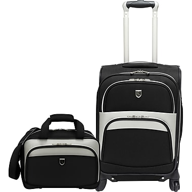 Beverly Hills Country Club BH2702 2-Piece Carry-On Spinner Luggage Set, Black