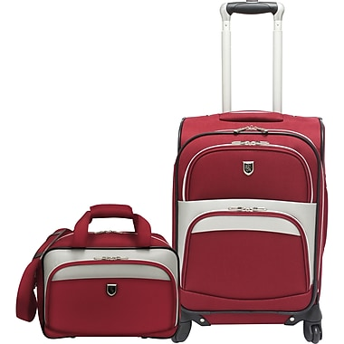 Beverly Hills Country Club BH2702 2-Piece Carry-On Spinner Luggage Set, Red
