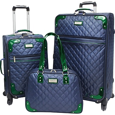 Beverly Hills Country Club BH4800 Brentwood 3-Piece Quilted Spinner Luggage Set, Navy/Green